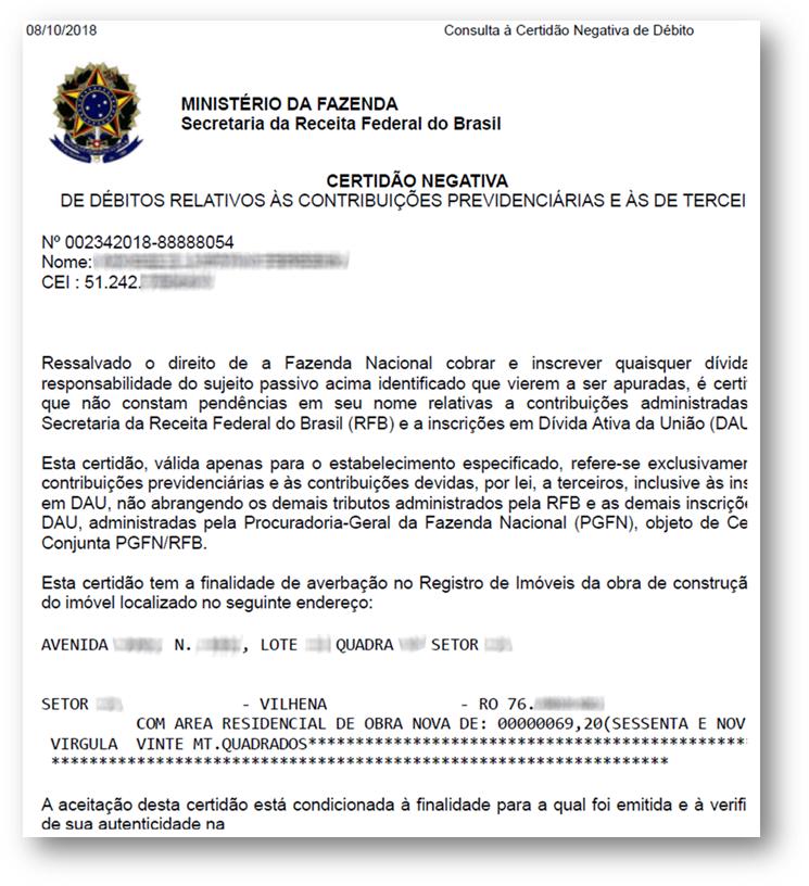 CND Obra Exemplo 1 - 10 Documentos do Imóvel para Financiamento Imobiliário na CAIXA