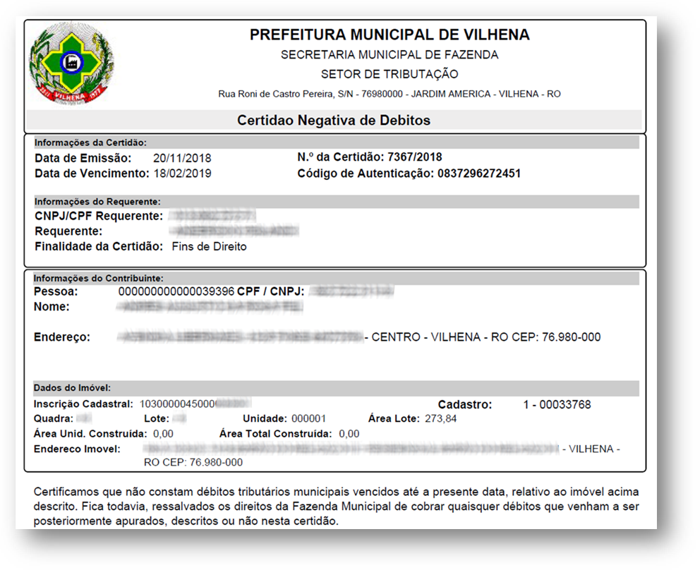 CND Prefeitura Exemplo 1 - 10 Documentos do Imóvel para Financiamento Imobiliário na CAIXA