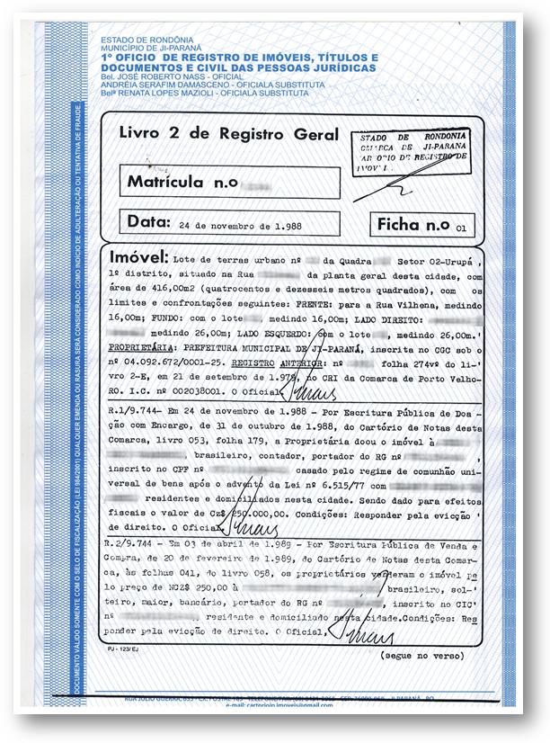 Matricula Imovel Exemplo 1 - 10 Documentos do Imóvel para Financiamento Imobiliário na CAIXA