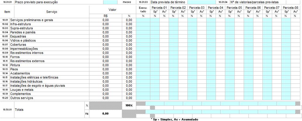 Planilha Cronograma - 5 Análises Técnicas da Caixa na proposta de financiamento imobiliário