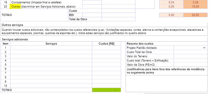 servicos e custos adicionais - Nova Planilha PFUI Caixa 2021 [ Planilha PCI ] Tutorial Completo